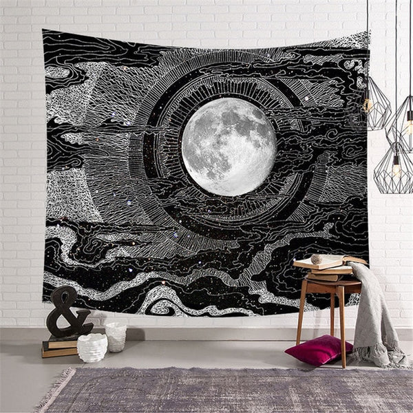 The Monochrome Moon Wall Tapestry - AJOONII