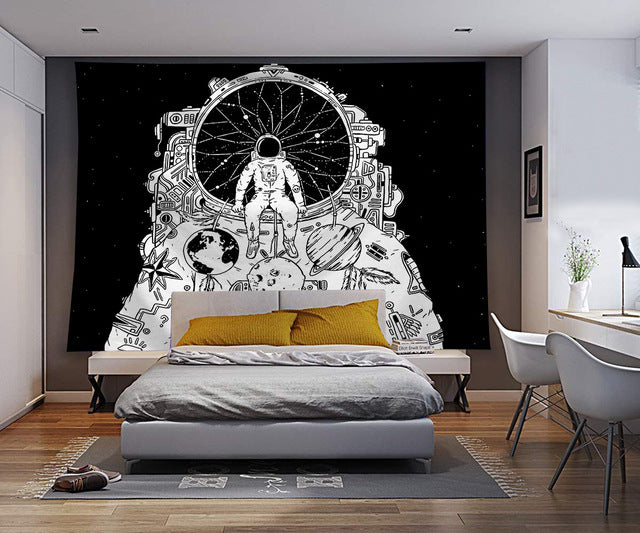 Monochromatic Space Astronaut Wall Tapestry - AJOONII