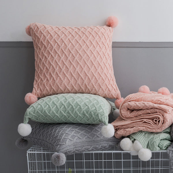 Solid Grey Pink Green Knitted Pillow Covers - AJOONII