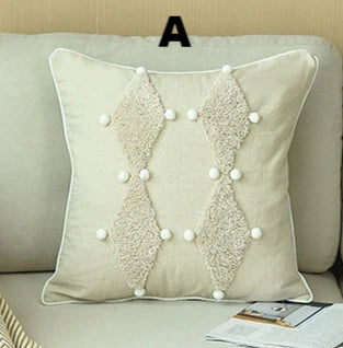 Luxury Beige Embroidered Geometric Pillow Covers - AJOONII