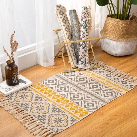 Simple Bohemian Cotton and Linen Fringed Rugs - AJOONII