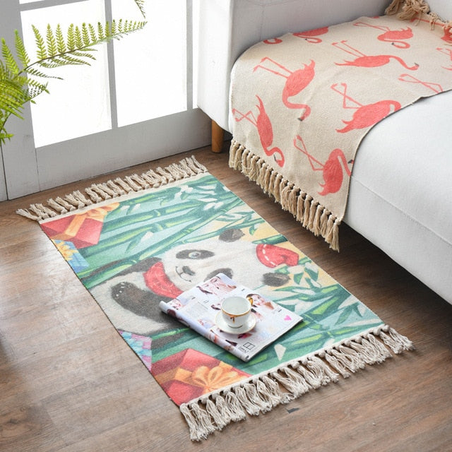 Colorful Print Cotton And Linen Fringed Rug - AJOONII