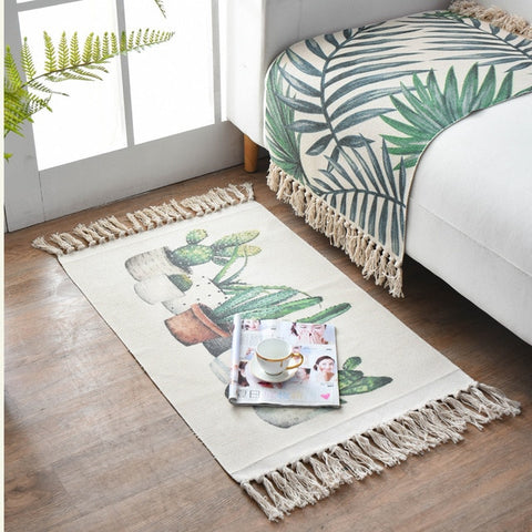Cactus Print Cotton And Linen Fringed Rug - AJOONII
