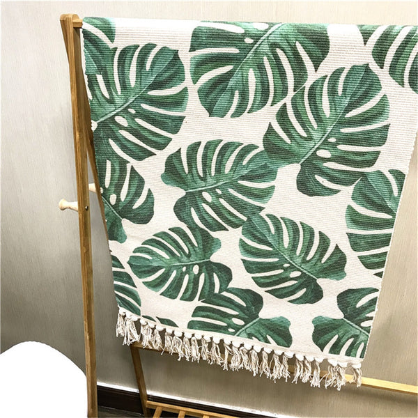 Palm Tree Leaves Pattern Tassel Rug - AJOONII