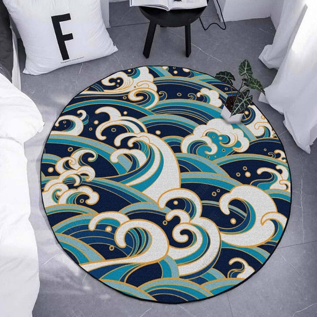 Digital Waves Round Rug - AJOONII