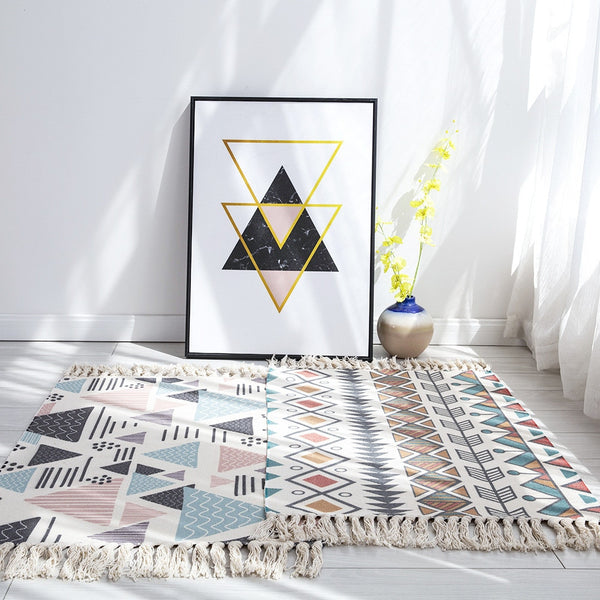 Cotton And Linen Aztec Print Tassel Rug - AJOONII