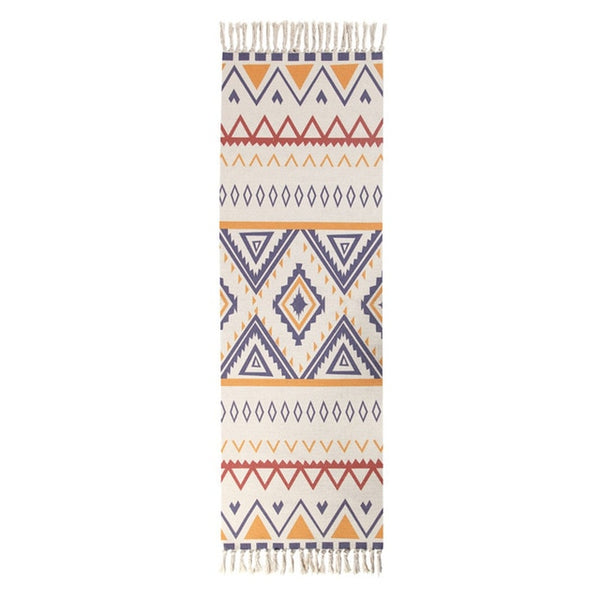 Colorful Aztec Pattern With Tassel Rug - AJOONII