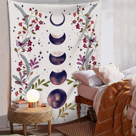 Purple Flower Moon Phases Wall Tapestry - AJOONII