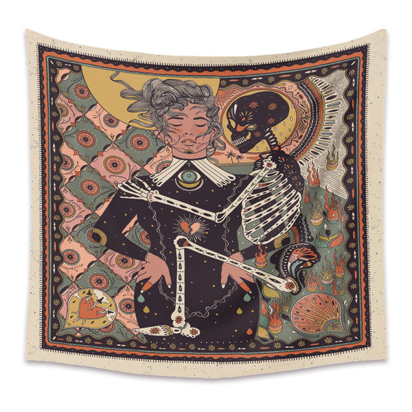 Woman & Skeleton Wall Tapestry - AJOONII