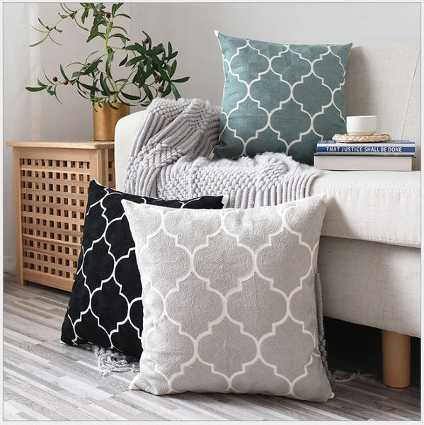 Grey Black Green Cotton Canvas Pillow Covers - AJOONII