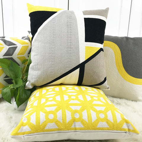 Yellow Grey Cotton Canvas Pillow Covers - AJOONII