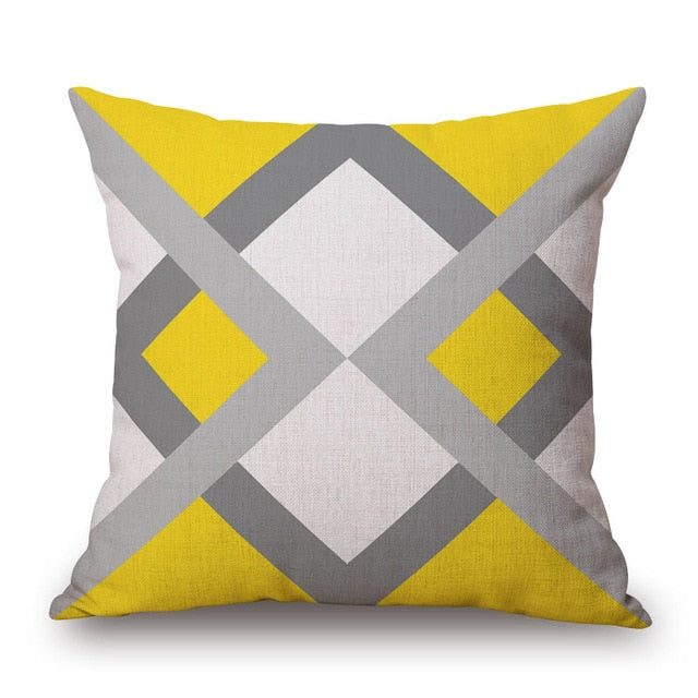 Yellow Grey Geometric Pillow Covers - AJOONII
