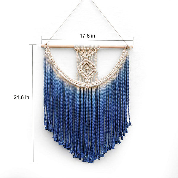 Blue Macrame Wall Hanging Tapestry - AJOONII