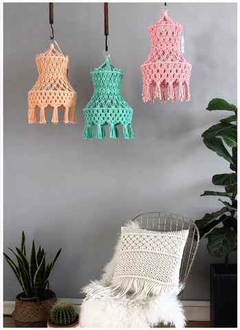 Bright Color Handcrafted Macrame Lampshade - AJOONII