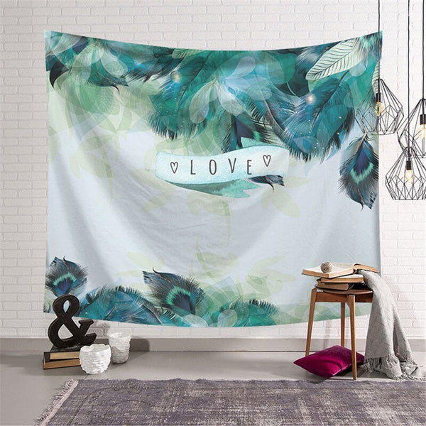 Love and Feathers Nordic Style Wall Tapestry