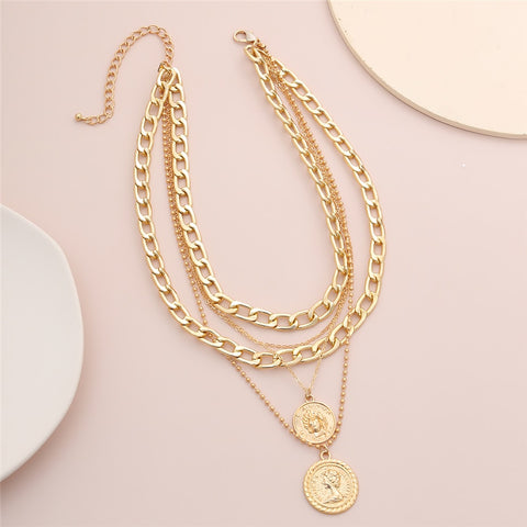 Multi Layered Vintage Coin Necklace