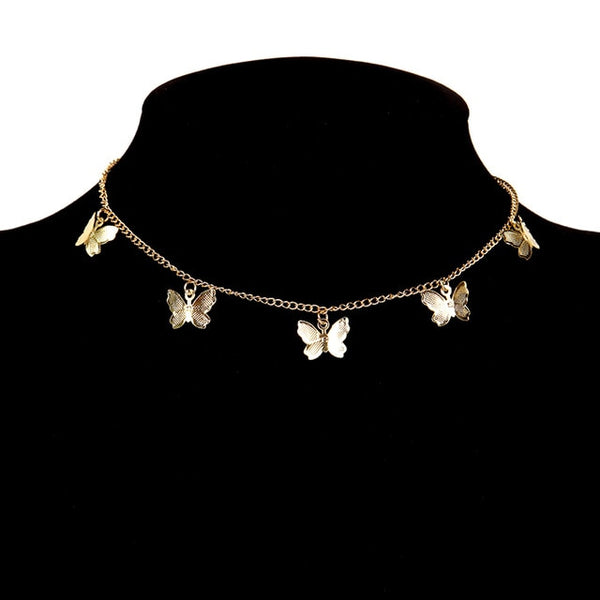 Gold Chain Butterfly Pendant Necklace