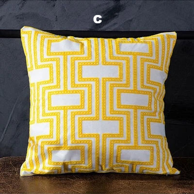 All Yellow Geometric Canvas Cushion Covers - AJOONII