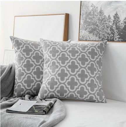 Thread Embroidered White & Grey Pillow Covers - AJOONII
