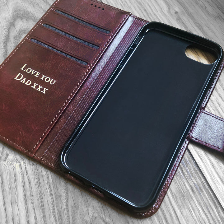 Personalised Faux Leather Samsung Phone Case - Brown