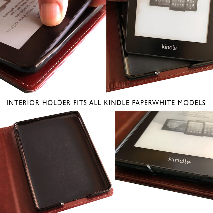Custom Vintage Faux Leather Book Cover - Various Colours - Kindle Paperwhite