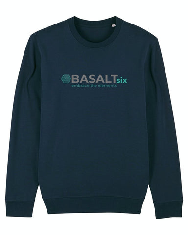 BASALTSIX UNISEX CREW NECK SWEATSHIRT - NAVY - Atlantic Kayaks & Leisure