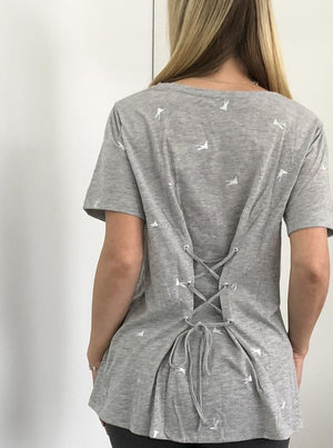 Adjustable Cross String Back Tee - Grey with metallic birds
