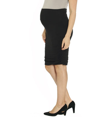 Rouched Maternity Bamboo Skirt - Black