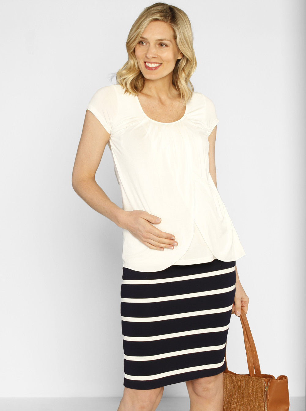 Fitted Cut Stretchy Skirt - Navy Stripes