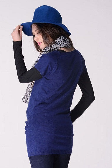 Knit Tunic Long Top with Cap Sleeve