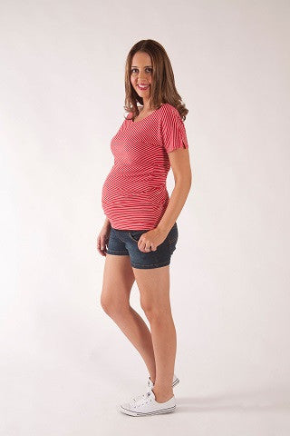 RED STRIPED TEE | SIZE S, L | Szabo Maternity
