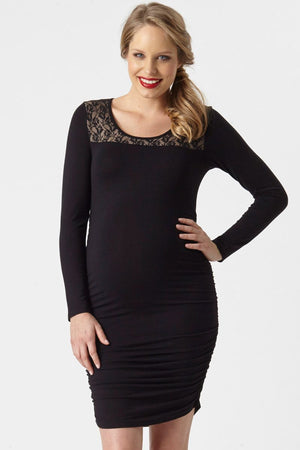 Lace Trim Maternity Rouched Dress - Only size M left!
