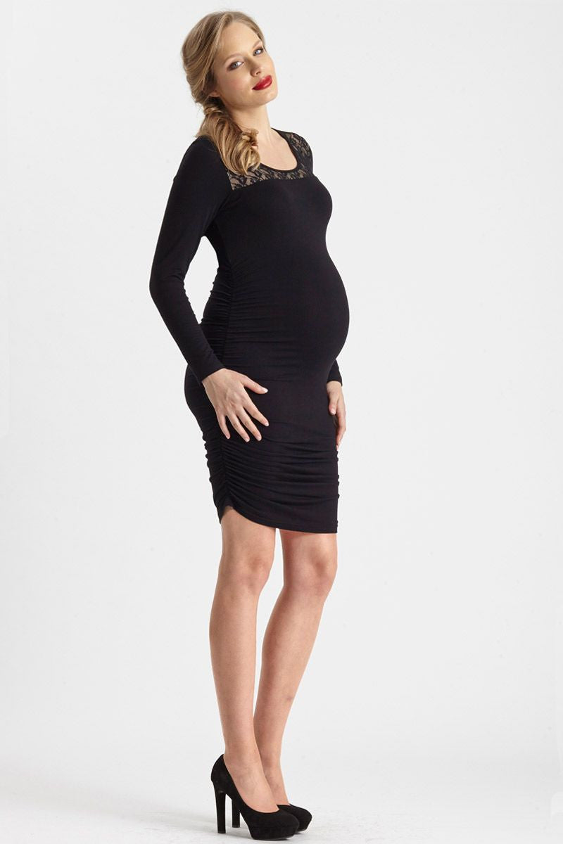 Lace Trim Maternity Rouched Dress - Only size S left!