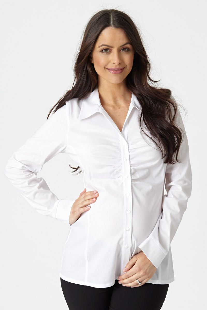 ROUCHED MATERNITY WORK SHIRT | SIZE L | Pea In A Pod Maternity