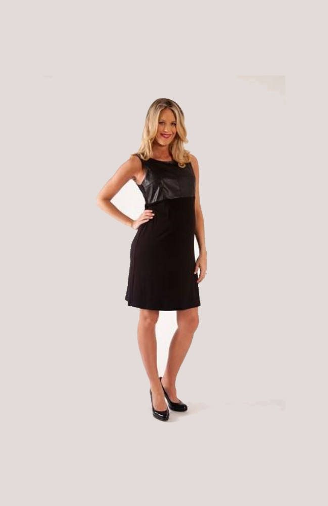 Pleather Shift Dress - Black