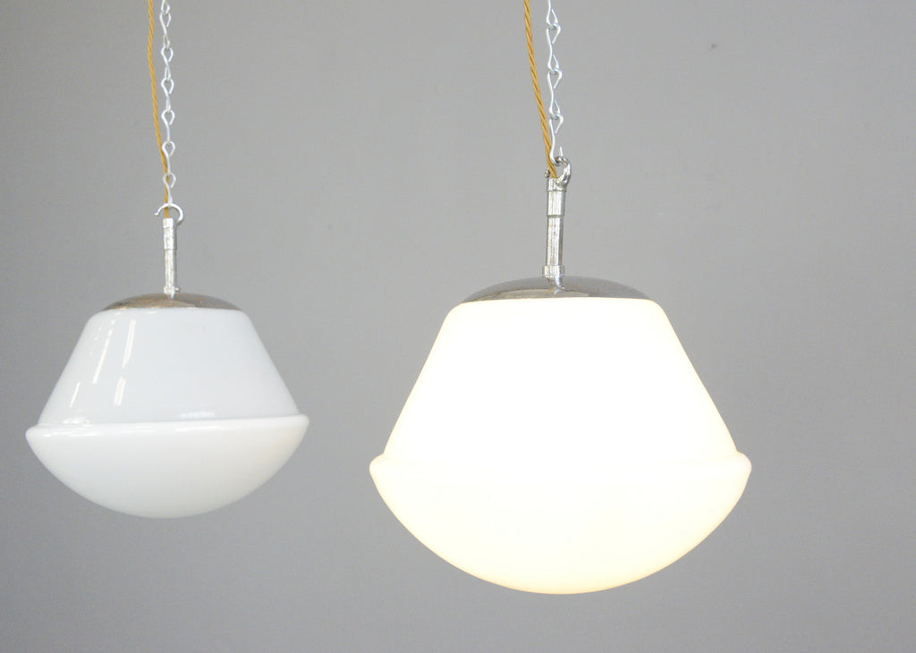 Kandem Model 755 P40 Opaline Pendant Lights Circa 1930s Otto S Antiques