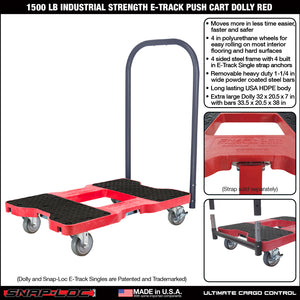 1500 lb INDUSTRIAL E-TRACK PUSH CART Red