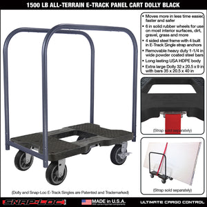 1,800 lb Super-Duty E-Track Panel Cart Dolly Black