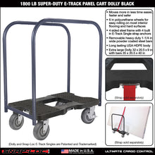 Load image into Gallery viewer, 1,500 lb All-Terrain E-Track Panel Cart Dolly Black