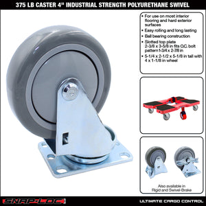375 lb Caster 4 Inch Industrial Strength Polyurethane Swivel