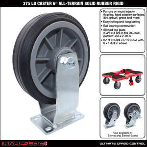 "375 lb CASTER 6"" ALL-TERRAIN SOLID RUBBER RIGID"