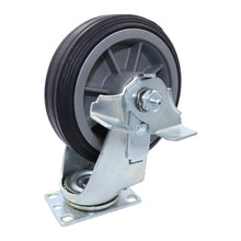 "Load image into Gallery viewer, 375 lb CASTER 6"" ALL-TERRAIN SOLID RUBBER SWIVEL-BRAKE"