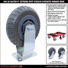 Load image into Gallery viewer, 400 lb Caster 6 Inch Extreme-Duty Synthetic Rubber Rigid