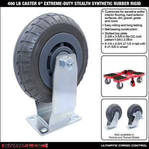 400 lb Caster 6 Inch Extreme-Duty Synthetic Rubber Rigid