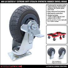 "Load image into Gallery viewer, 400 lb CASTER 6"" EXTREME-DUTY SYNTHETIC RUBBER SWIVEL-BRAKE"