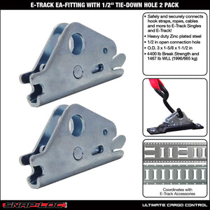 "E-TRACK EA-FITTING with 1/2"" TIE-DOWN HOLE 2 PACK"