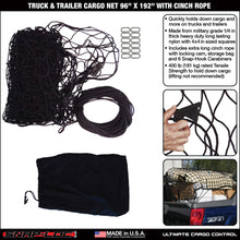 "Load image into Gallery viewer, TRUCK & TRAILER CARGO NET 96"" x 192"" with CINCH ROPE"