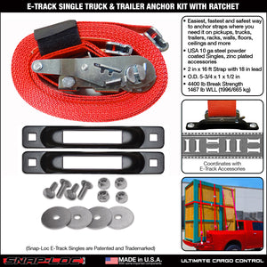 E-Track Single Truck Trailer Tie-Down Anchor Kit with 2 in x 16 ft Ratchet Strap 4,400 lb