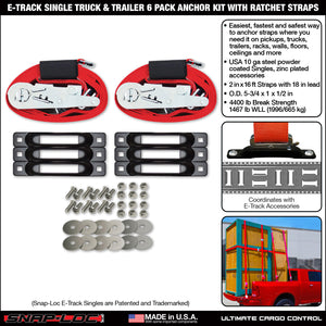 E-Track Single Truck Trailer 6-Pack Tie-Down Anchor Kit with 2 in x 16 ft Ratchet Straps 4,400 lb