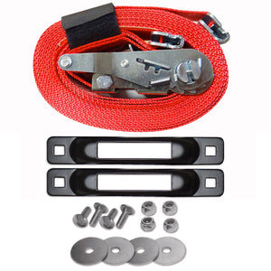 E-Track Single Tailgate Strap Tie-Down Anchor Kit with 2 in x 16 ft Ratchet 4,400 lb